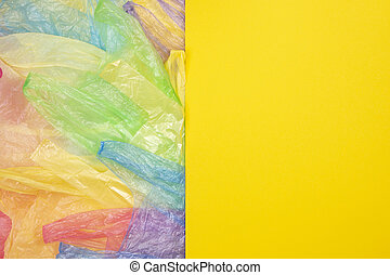 sacs, usage, achats, texte, image, jaune, plastique, unique, fond, vide, multicolore, ou