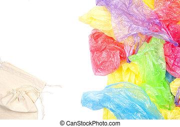 sacs, usage, concept, achats, non, eco, beaucoup, durabilité, une, gaspillage, arrière-plan., zéro, style de vie, naturel, blanc, plastique, amical, sac, unique, réutilisable