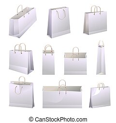 sacs, vecteur, achats, affiche, poignées, papier, collections, white.