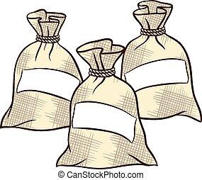 sacs, vecteur, sel, farine, sucre