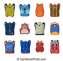 sacs, voyage, écoliers, sacs dos, style, blanc, plat, vecteur, devant, étudiants, fond, vue, illustration, ou, collection