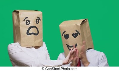 sacs, yeux, concept, fear., gens, peint, têtes, couple,...