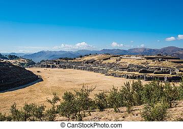 sacsayhuaman, gruzy, peruwiański, andy, cuzco, peru