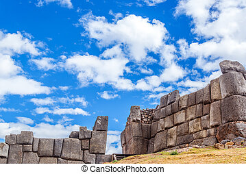 Incan ruins of a fortress known as Sacsayhuaman on the outskirts of Cusco, Peru