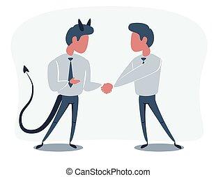 sacudarir las manos, empresa / negocio, dos, cubrir, deal.