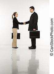 sacudida, businesspeople, hands.