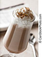 sacudida, crema, leche, azotado, chocolate