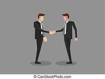 sacudida, vector, dos, hombres de negocios, ilustración, ...