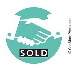 sacudida, :, vendido, transacción, mano