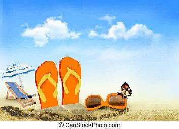 sacudidela cai, óculos de sol, cadeira praia, e, um, borboleta, ligado, um, praia., férias verão, experiência., vector.