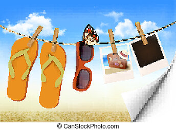 sacudidela cai, óculos de sol, e, foto, cartões, pendurar, um, rope., verão, memórias, experiência., vector.