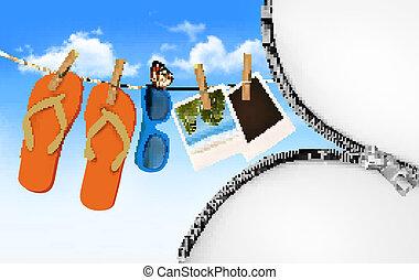 sacudidela cai, óculos de sol, e, foto, cartões, pendurar, um, rope., verão, memórias, fundo, com, um, zipper., vector.