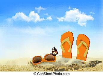 sacudidela cai, óculos de sol, e, um, borboleta, ligado, um, praia., verão, memórias, experiência., vector.