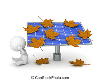 Sad 3D Character and Solar Panel covered with Autumn Leaves