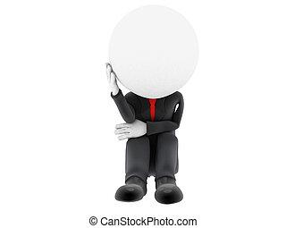 Sad 3d man sitting isolated on white background