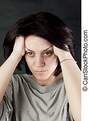 sad abused woman