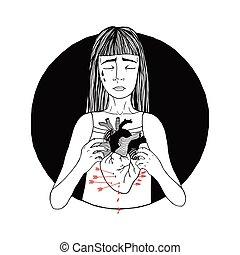 Sad and suffering girl loss of love. women, broken heart concept. hand drawn illustration