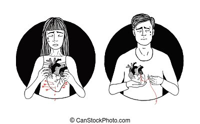 Sad and suffering man and woman loss of love. broken heart concept. hand drawn illustration