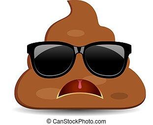 Sad angry poo emoji, vector funny cartoon