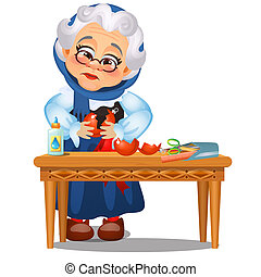 Sad animated old lady glued up the broken Christmas toys isolated on a white background. Sketch of Christmas festive poster, party invitation, other holiday card. Vector cartoon close-up illustration.