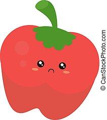 Sad apple, illustration, vector on white background.