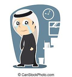 Sad arabian businessman illustration design