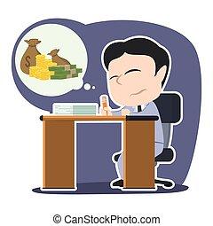 Sad asian businessman imagining moneys