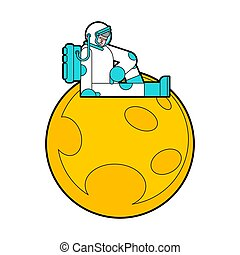 Sad Astronaut sitting on moon. Loneliness in space?