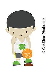 sad basketball boy player