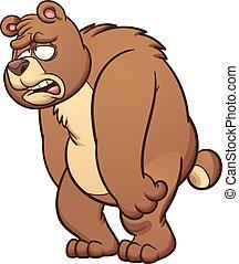 Sad bear - Sad cartoon bear. Vector clip art illustration...