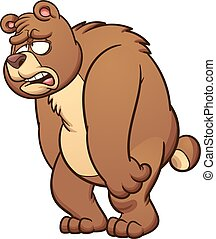 Sad bear - Sad cartoon bear. Vector clip art illustration...