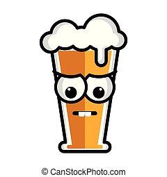 Sad beer cartoon character