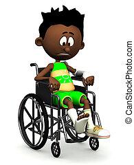 Sad black cartoon boy in wheelchair.