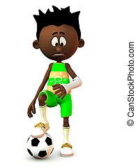 Sad black cartoon boy with broken arm.
