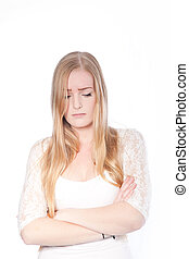 Sad Blond Young Woman Crossing Arms