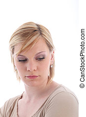 Sad blonde woman