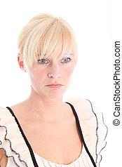 Sad blonde woman with blue eyes