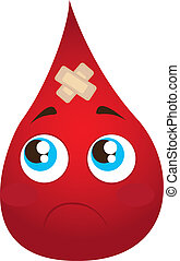 sad blood drop with adhesive bandage isolated vector...