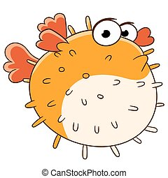 sad blowfish - cute sad and lonely blowfish is swimming