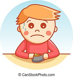 sad boy cartoon illustration