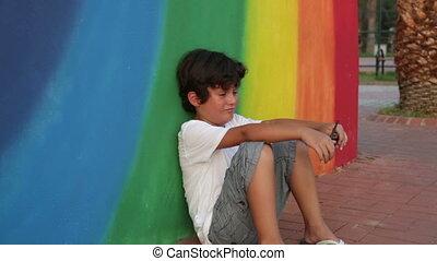 Sad boy crying