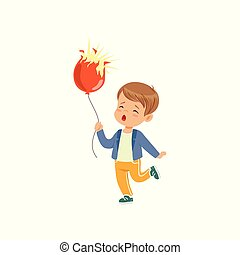 Sad boy holding bursting balloon vector Illustration on a white background