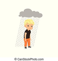 Sad boy standing under stormy rainy clouds vector Illustration on a white background