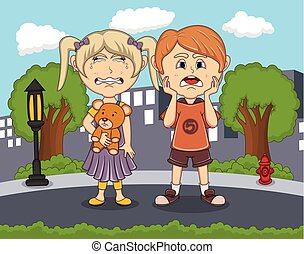 Sad boys and girls crying in the street with city background cartoon