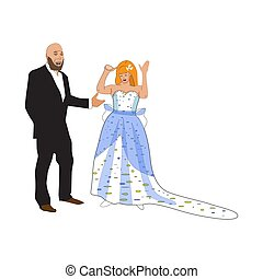 Sad bride gesturing and crying. Vector illustration