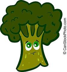 Sad broccoli, illustration, vector on white background.