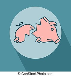 Sad broken Piggy bank or money box symbol. Thin line linear...