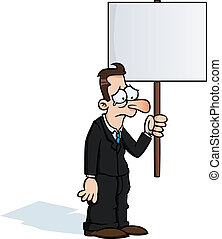 Sad business man with protest sign
