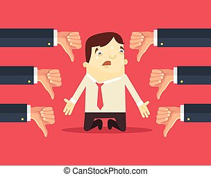 Sad businessman and many hands with thumbs down. Vector flat illustration