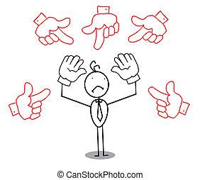 Sad Businessman Around Pointing Hand